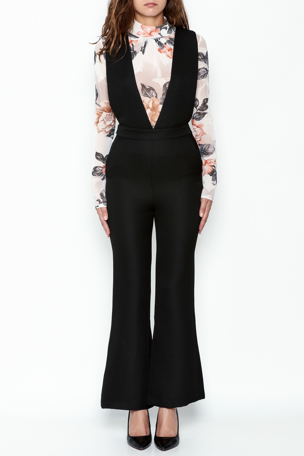 English Factory Black Tailored Jumpsuit - Front Full Image