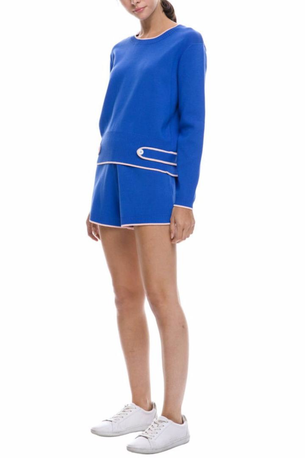 English Factory Blue Knit Top - Side Cropped Image