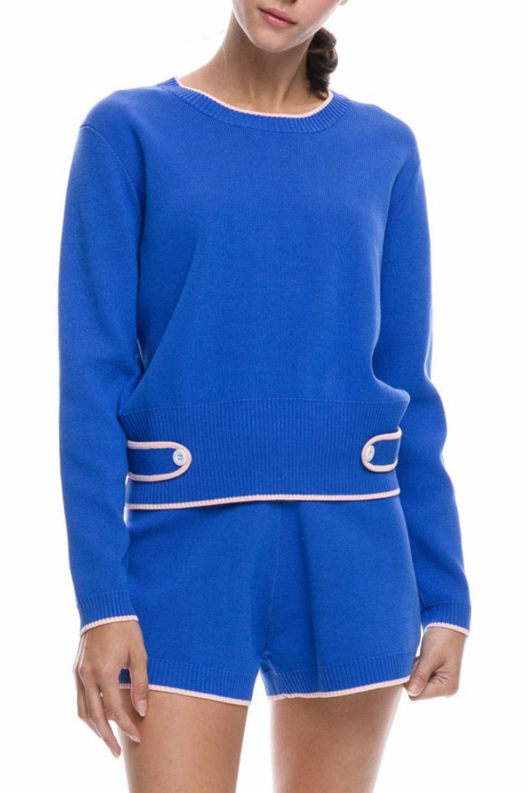 English Factory Blue Knit Top - Back Cropped Image