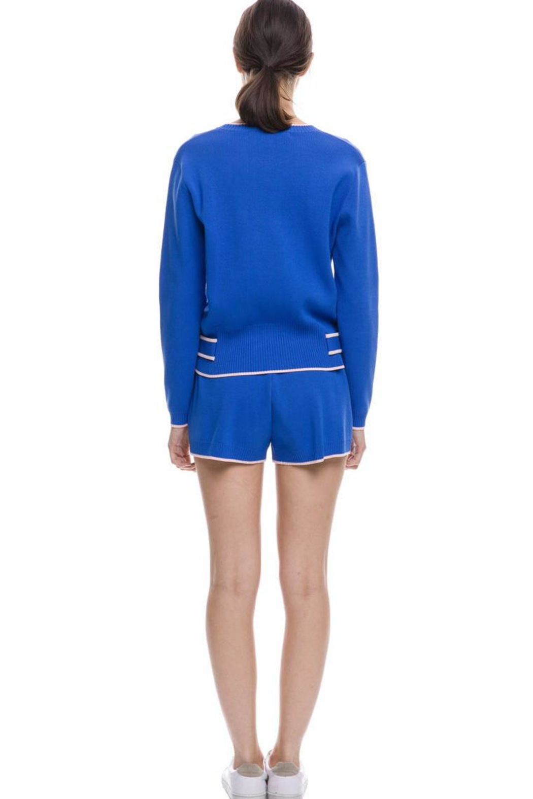 English Factory Blue Knit Top - Front Full Image