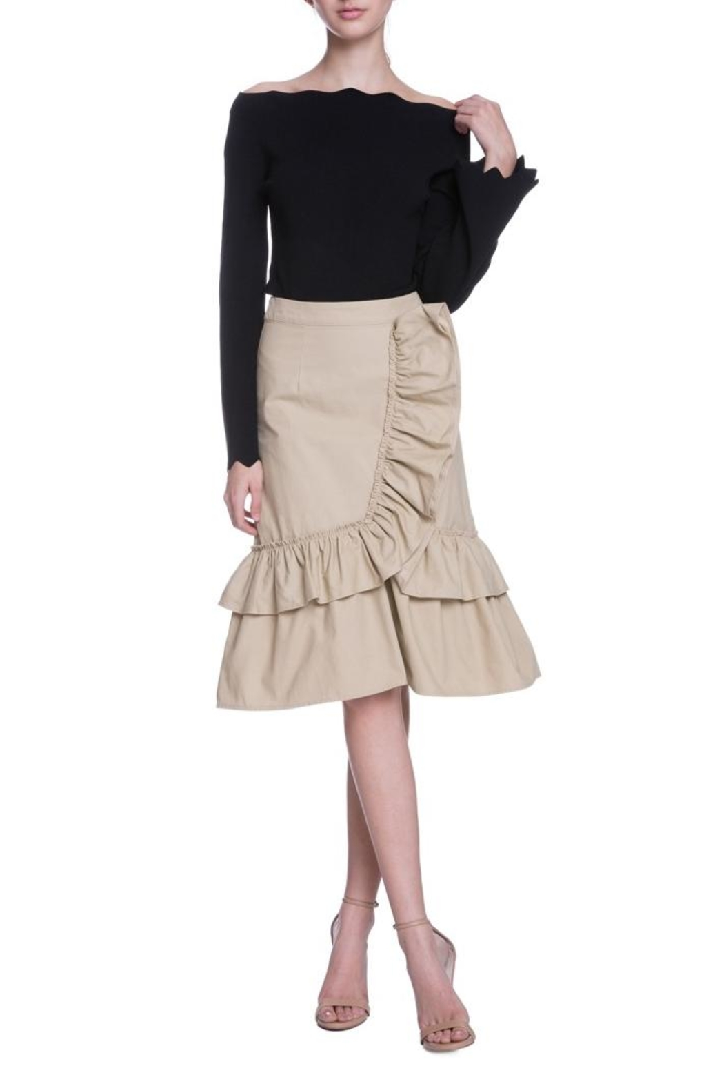 English Factory Camel Ruffle Skirt - Front Full Image