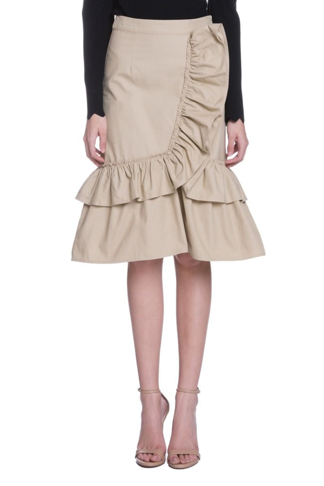 English Factory Camel Ruffle Skirt - Front Cropped Image
