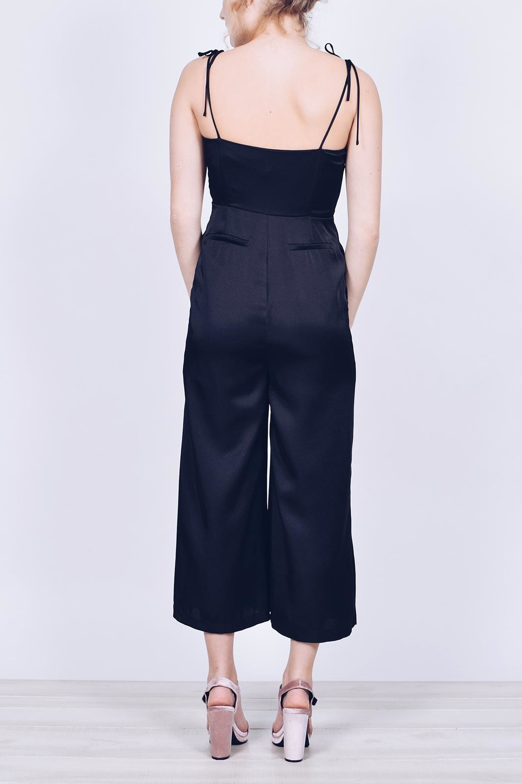 English Factory Cropped Satin Jumpsuit - Back Cropped Image