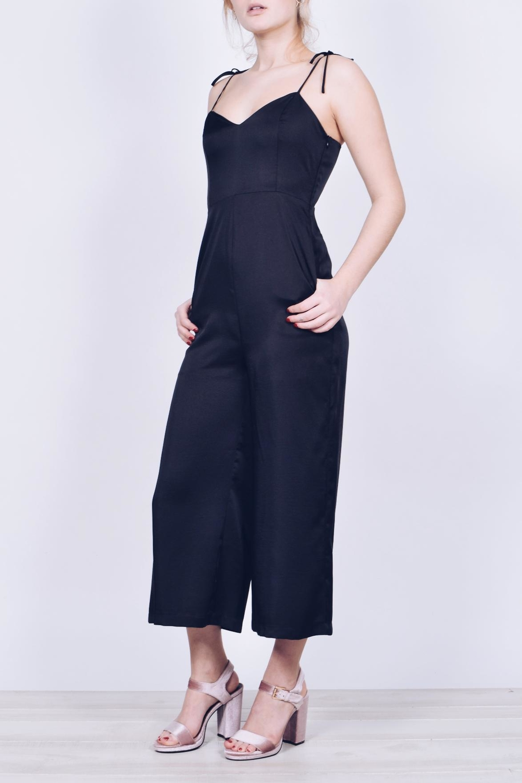 English Factory Cropped Satin Jumpsuit - Front Full Image