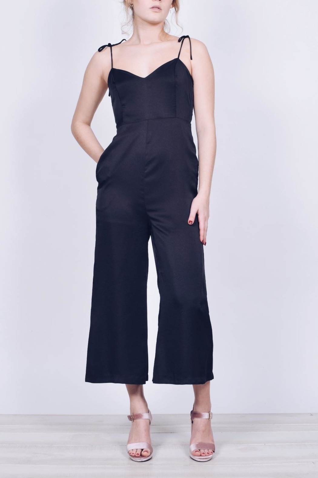 English Factory Cropped Satin Jumpsuit - Main Image
