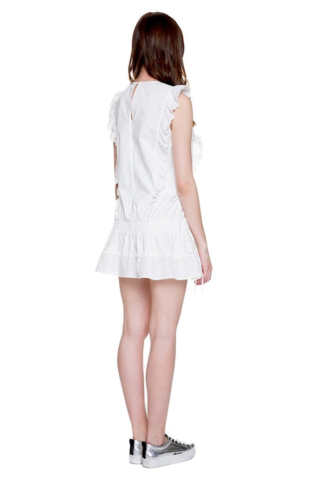 English Factory Eyelet Dropwaist Dress - Back Cropped Image