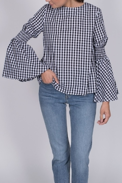 English Factory Gingham Bell Sleeve Top - Product List Image