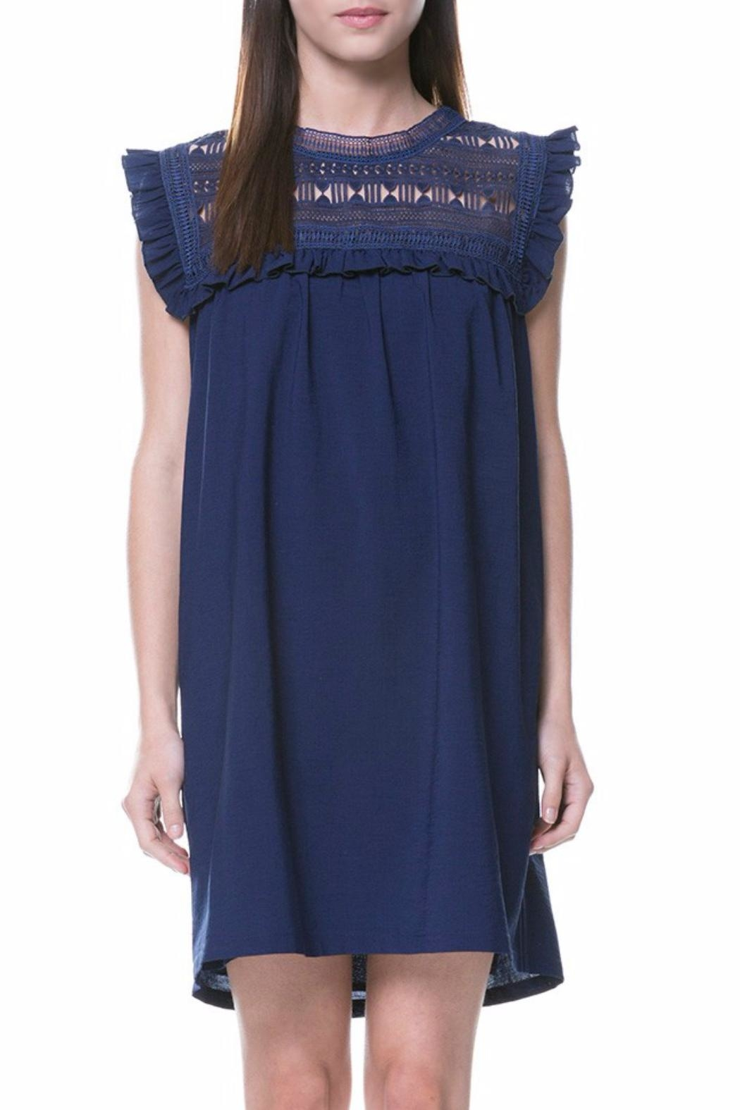 English Factory Lace Yoke Dress - Front Cropped Image