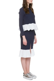 English Factory Navy Poplin Top - Front full body