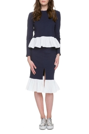 English Factory Navy Poplin Top - Back cropped