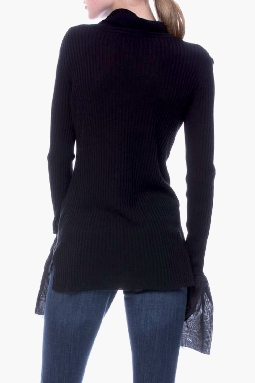 English Factory Organza Bell Sleeve Sweater - Back Cropped Image