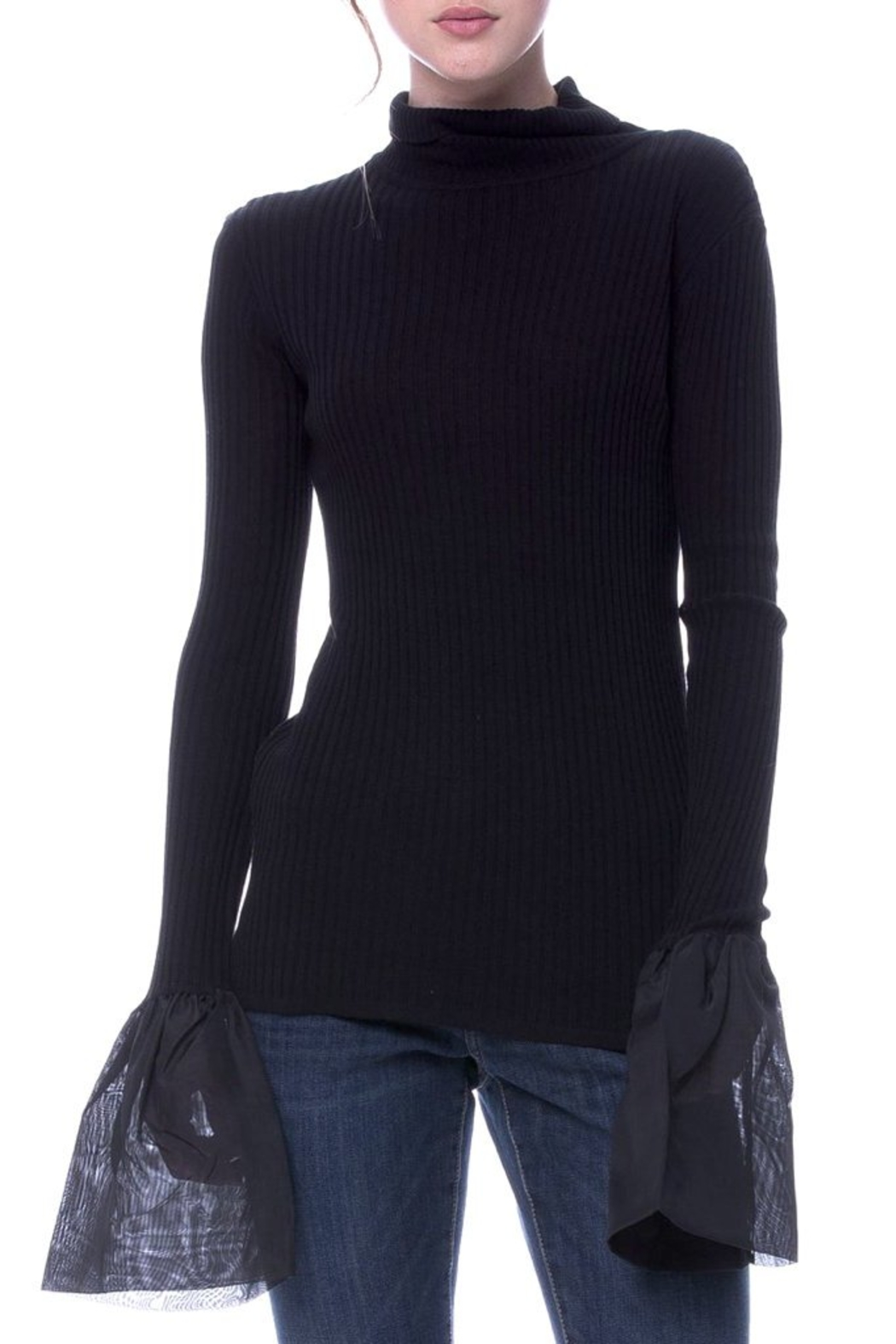 English Factory Organza Bell Sleeve Sweater - Main Image
