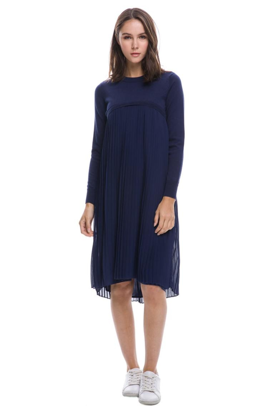 English Factory Pleated Sweater Dress - Front Cropped Image