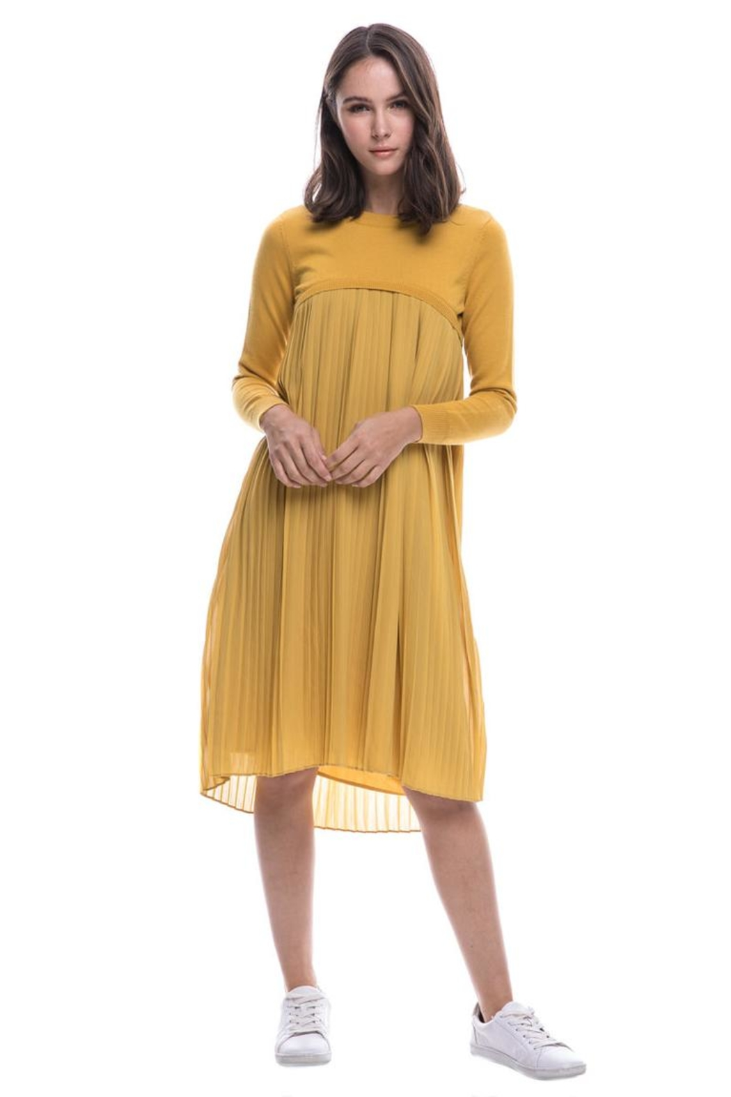 English Factory Pleated Sweater Dress - Main Image