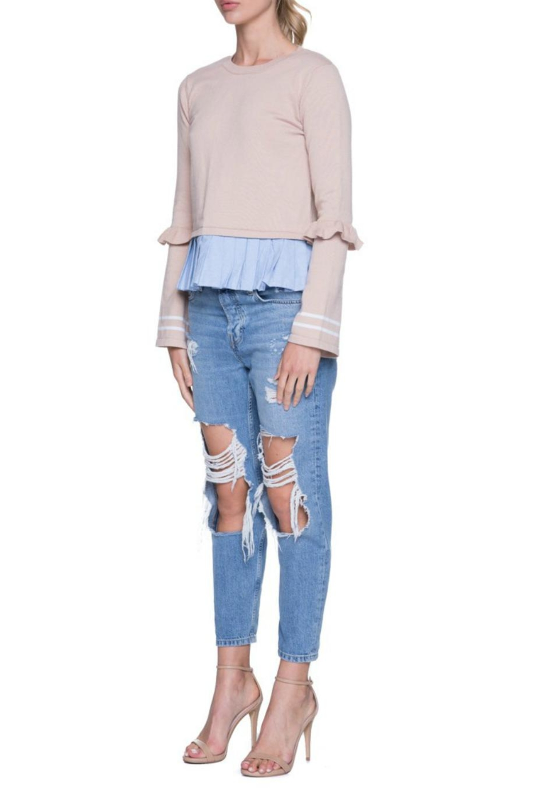 English Factory Ruffle Contrast Knit - Side Cropped Image
