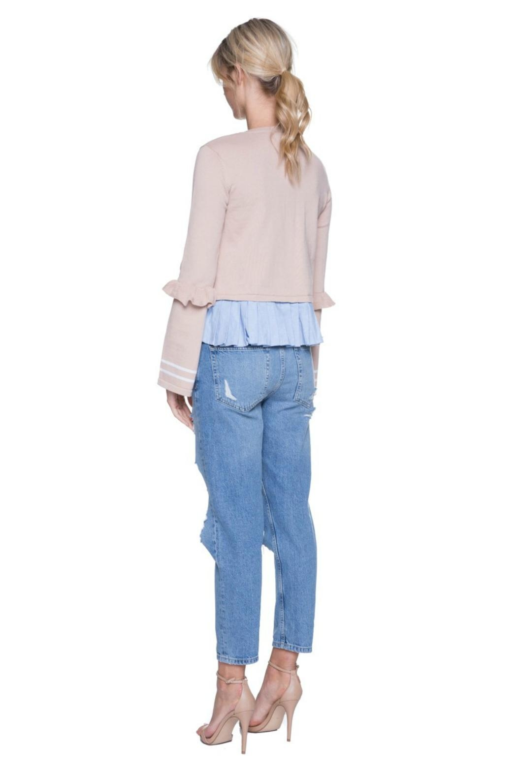English Factory Ruffle Contrast Knit - Back Cropped Image