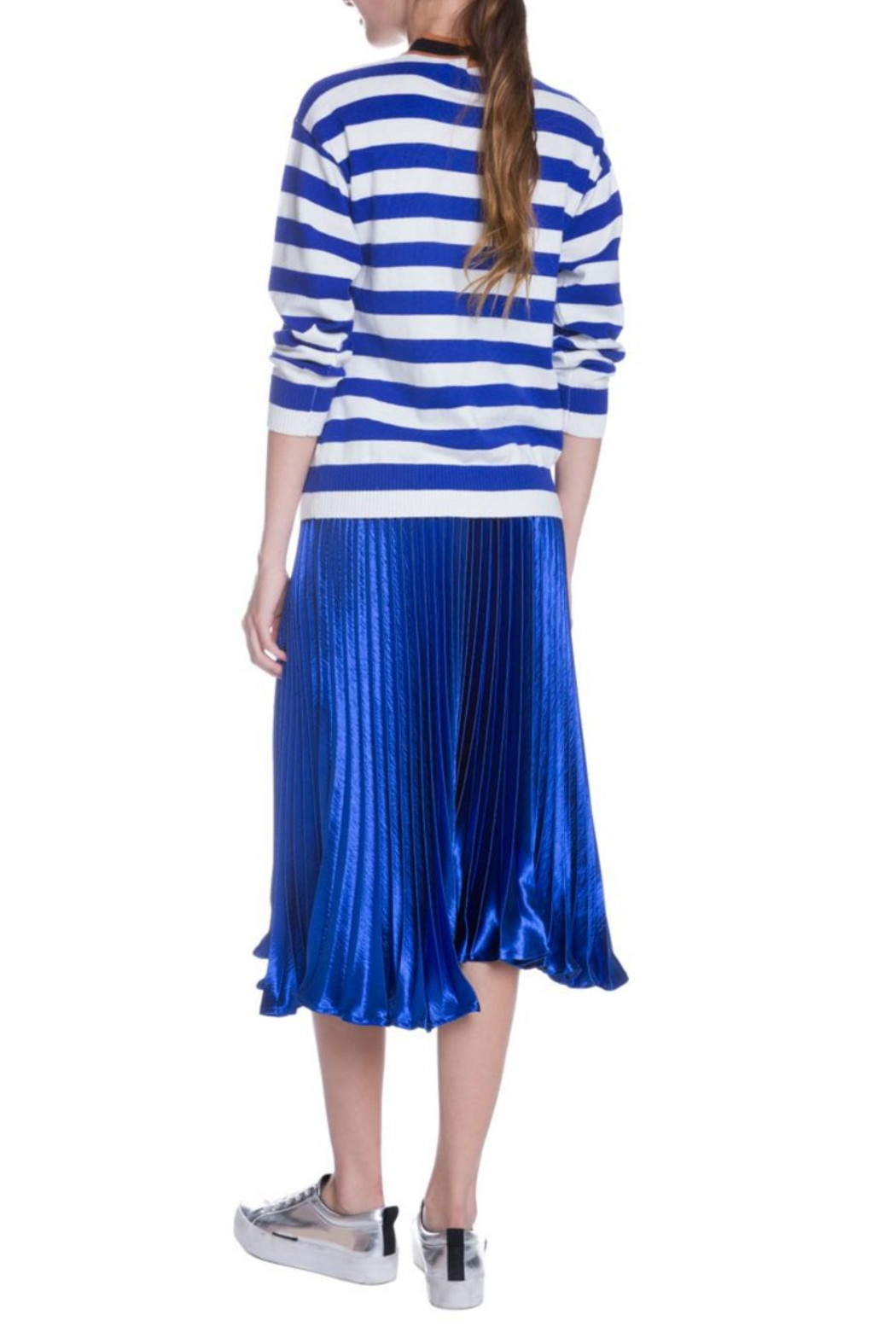 English Factory Striped Bow Sweater - Back Cropped Image