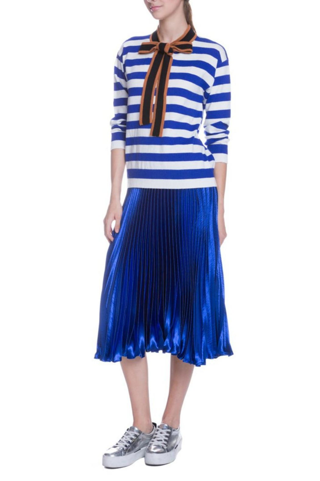 English Factory Striped Bow Sweater - Side Cropped Image
