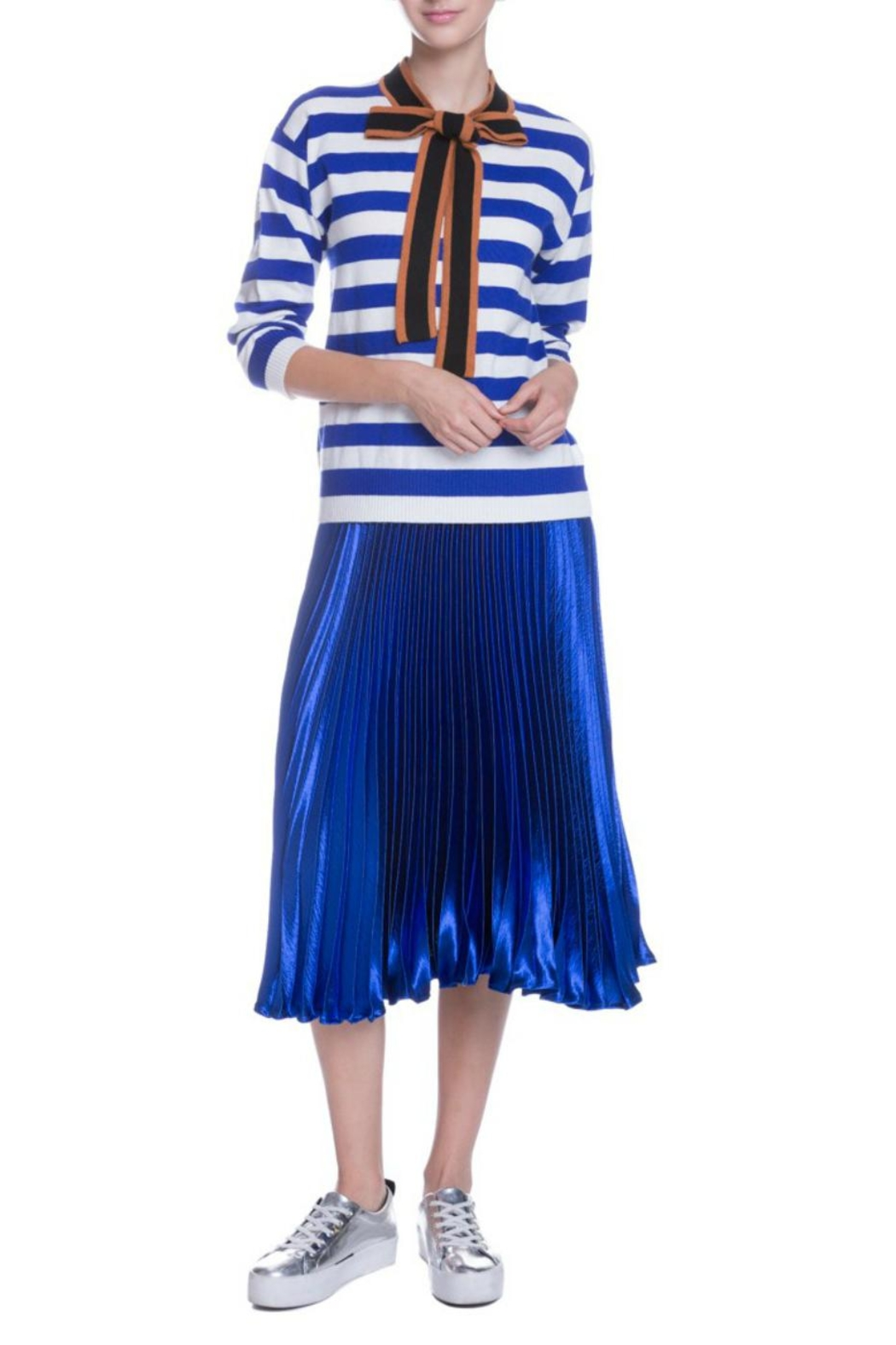 English Factory Striped Bow Sweater - Front Full Image