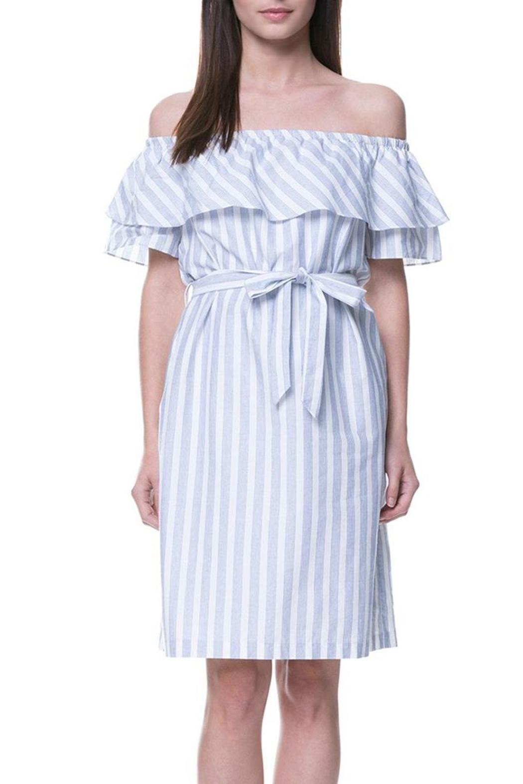 English Factory Striped Off Shoulder Dress - Front Full Image