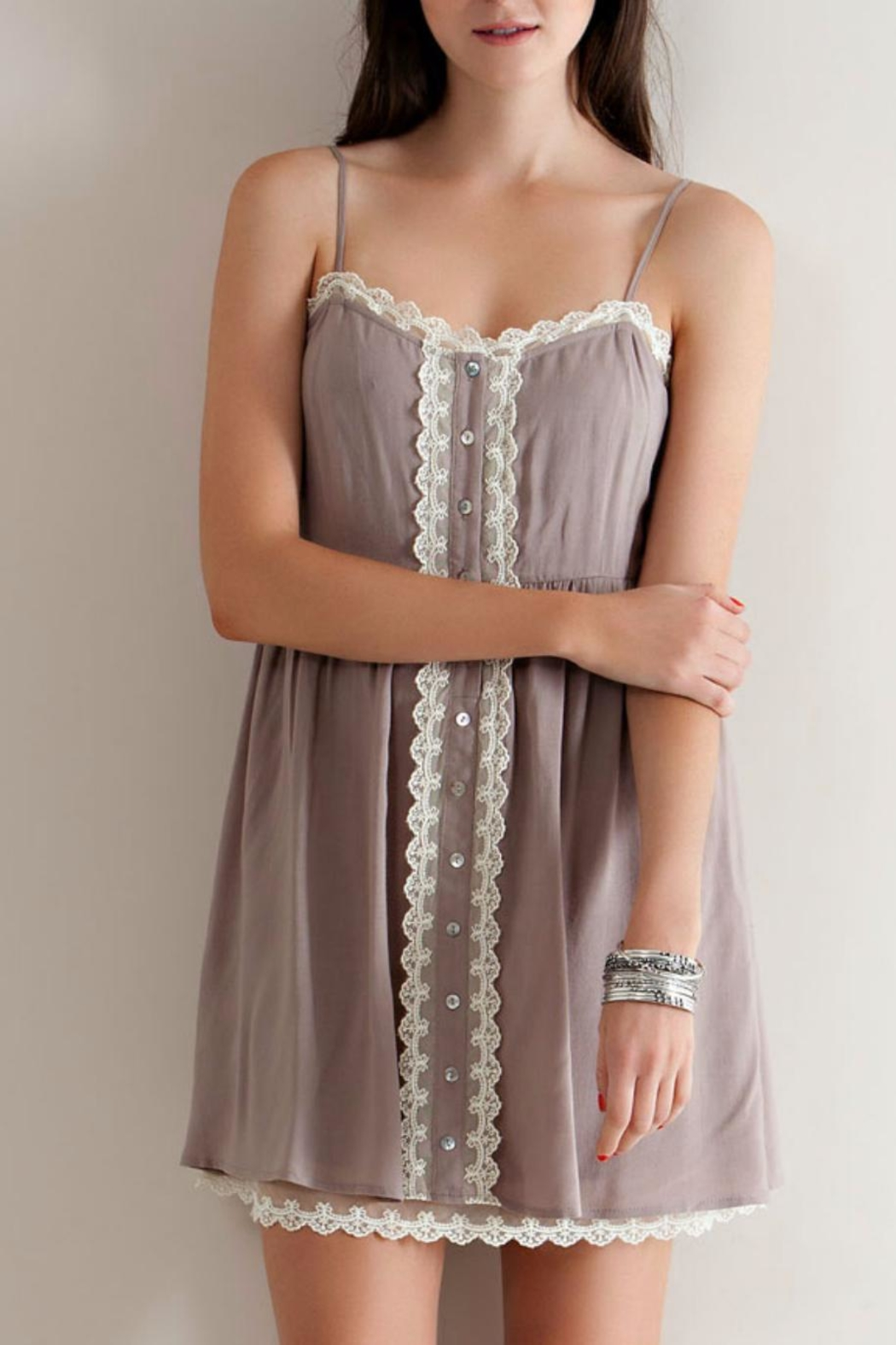 Entro Babydoll Button Down Dress - Main Image