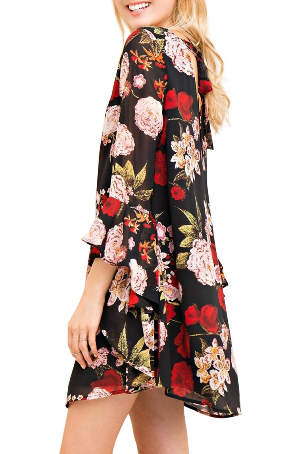 Entro Bell Sleeve Dress - Front Full Image