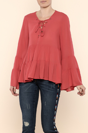 Entro Bell Sleeve Lace-Up Top - Product Mini Image