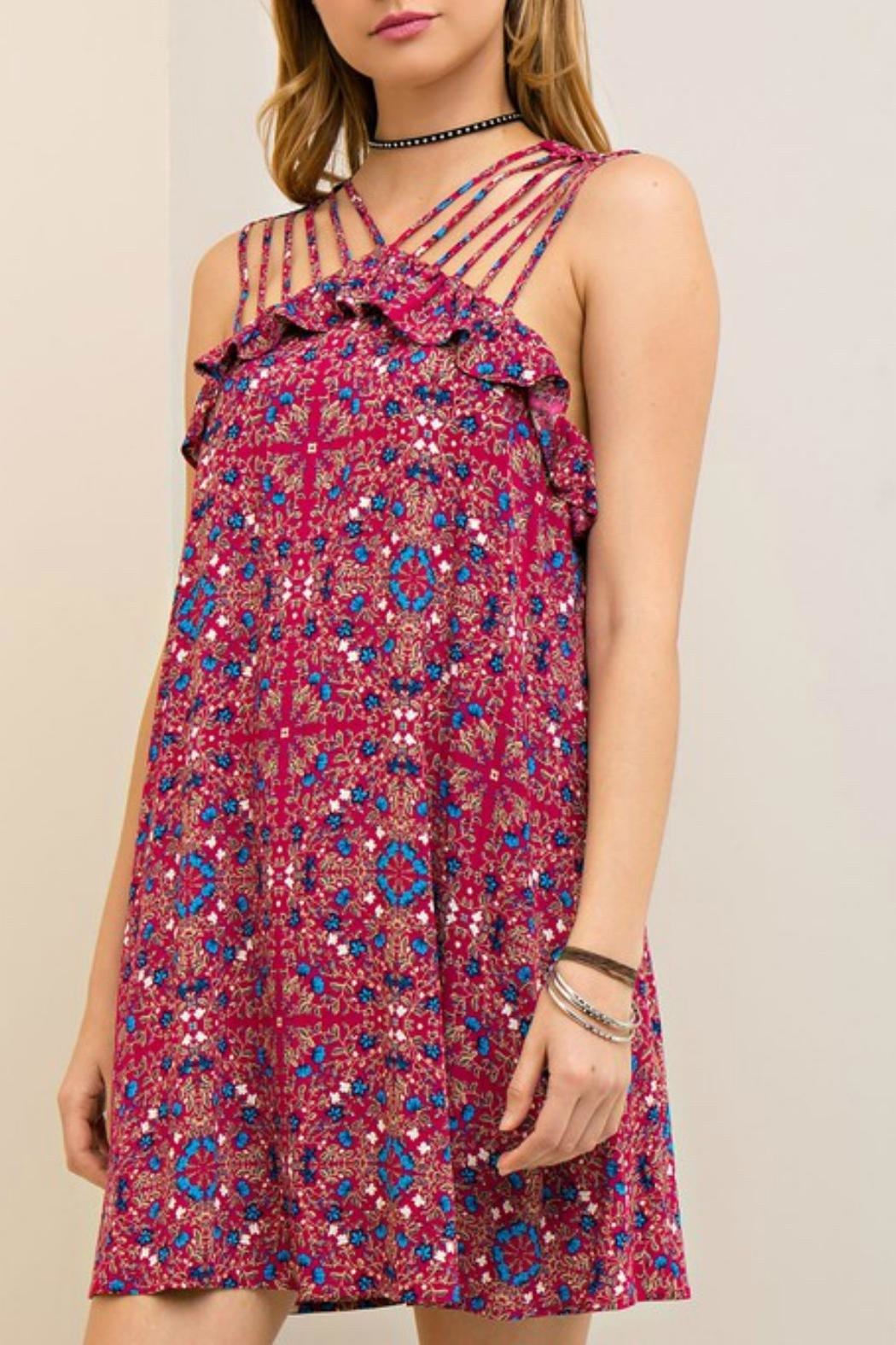 Entro Berry Strapped Dress - Side Cropped Image