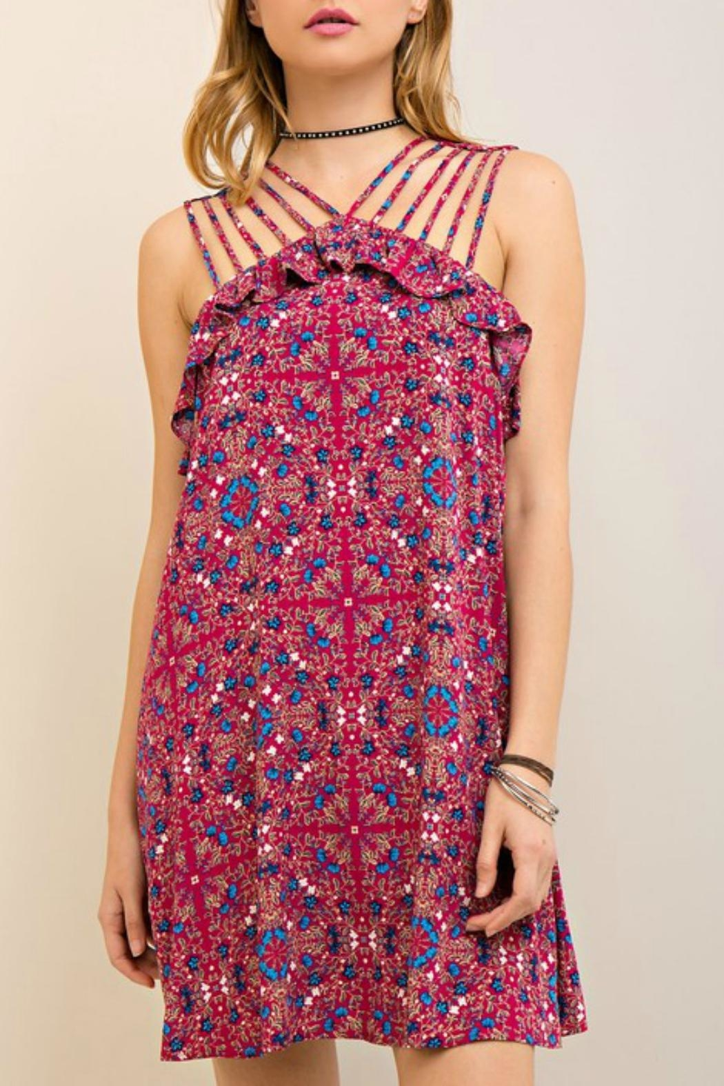 Entro Berry Strapped Dress - Main Image