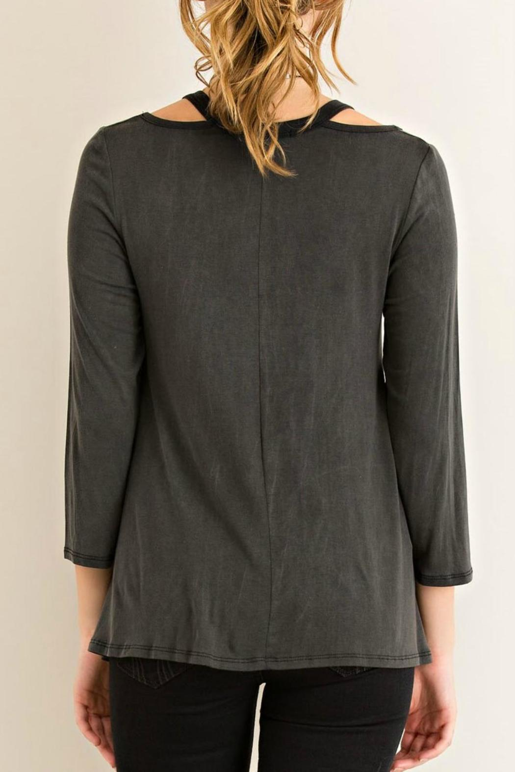 Entro Black Jersey Top - Side Cropped Image