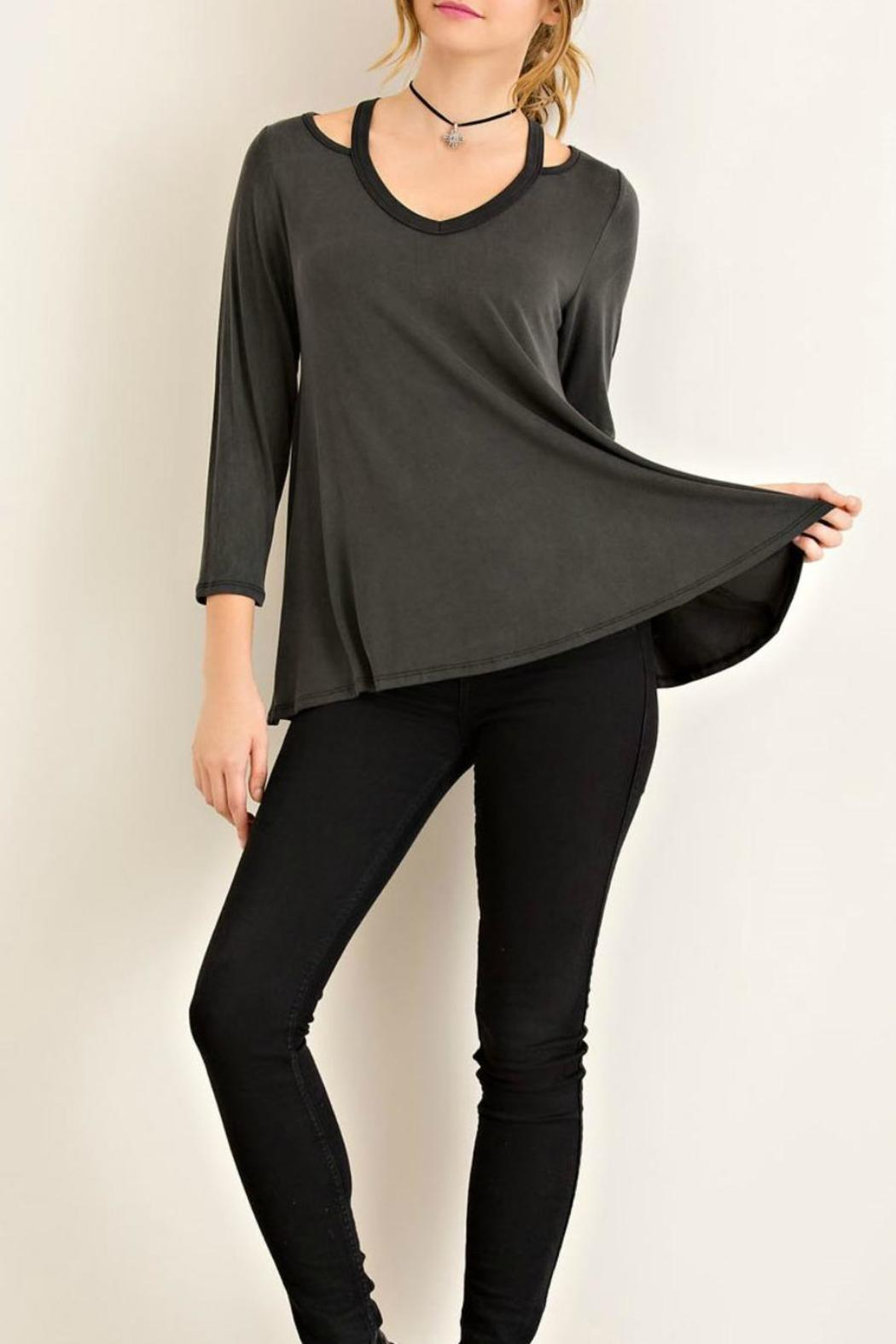 Entro Black Jersey Top - Front Full Image