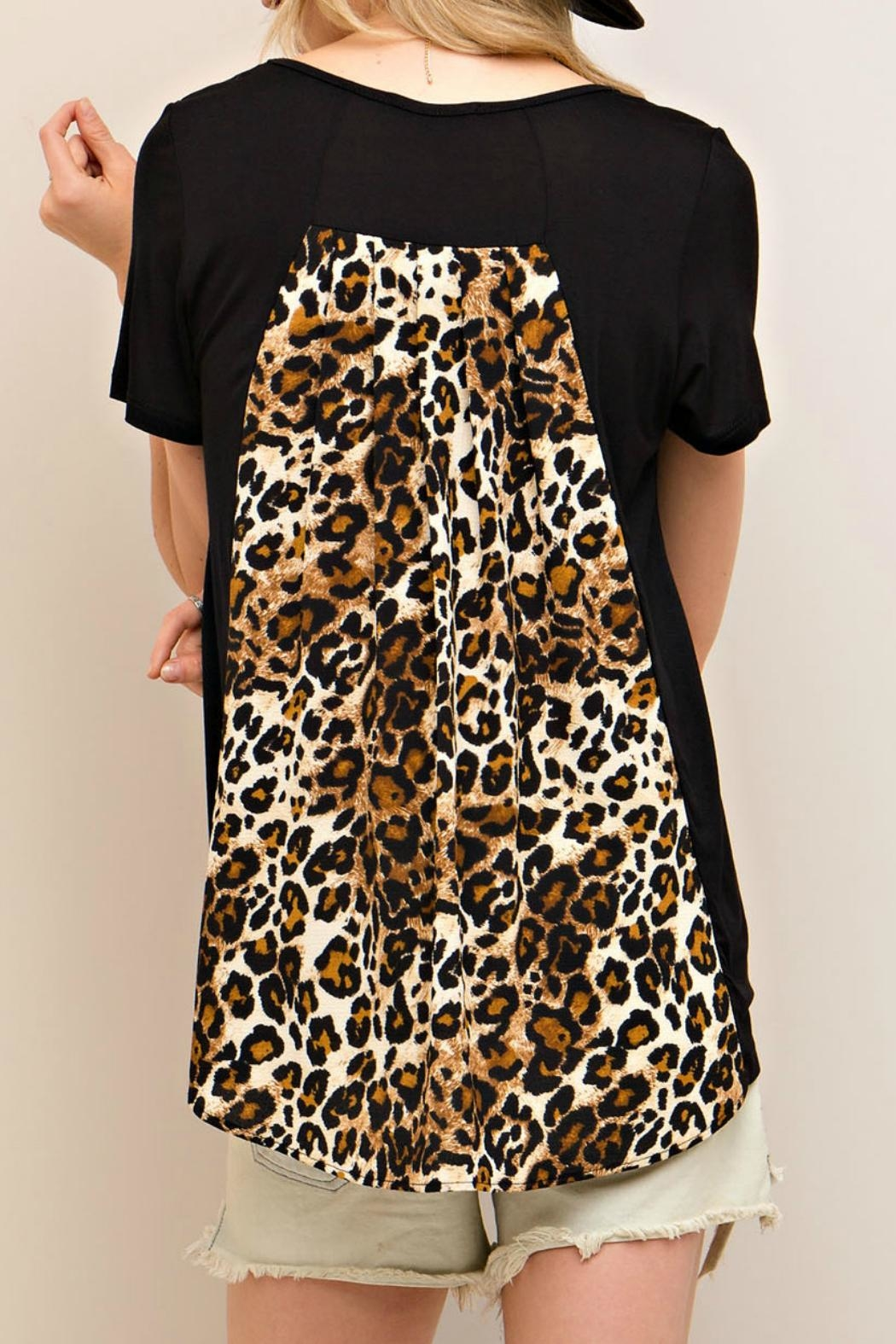 Entro Black Leopard Top - Back Cropped Image