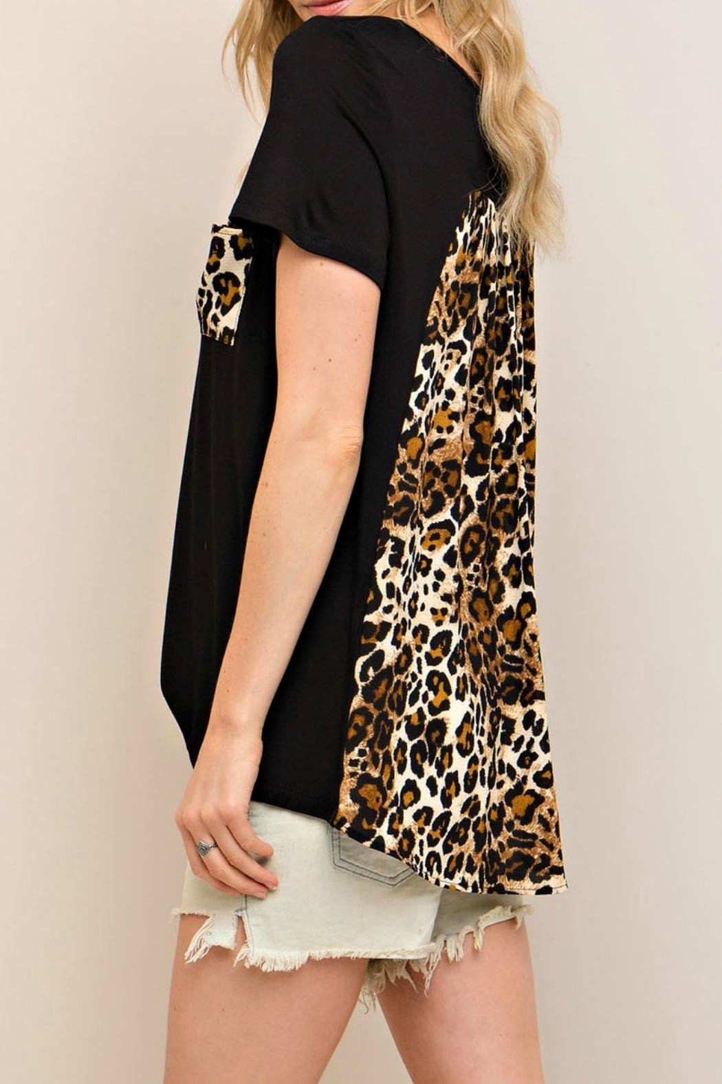 Entro Black Leopard Top - Side Cropped Image