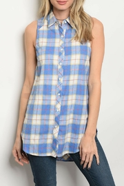 Entro Blue Checkered Top - Product Mini Image