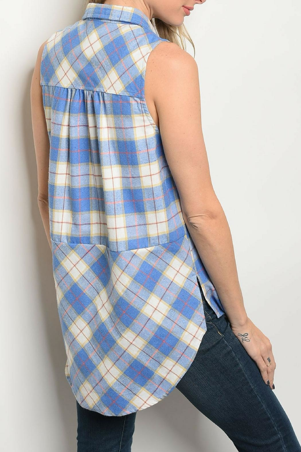 Entro Blue Checkered Top - Front Full Image