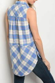 Entro Blue Checkered Top - Front full body