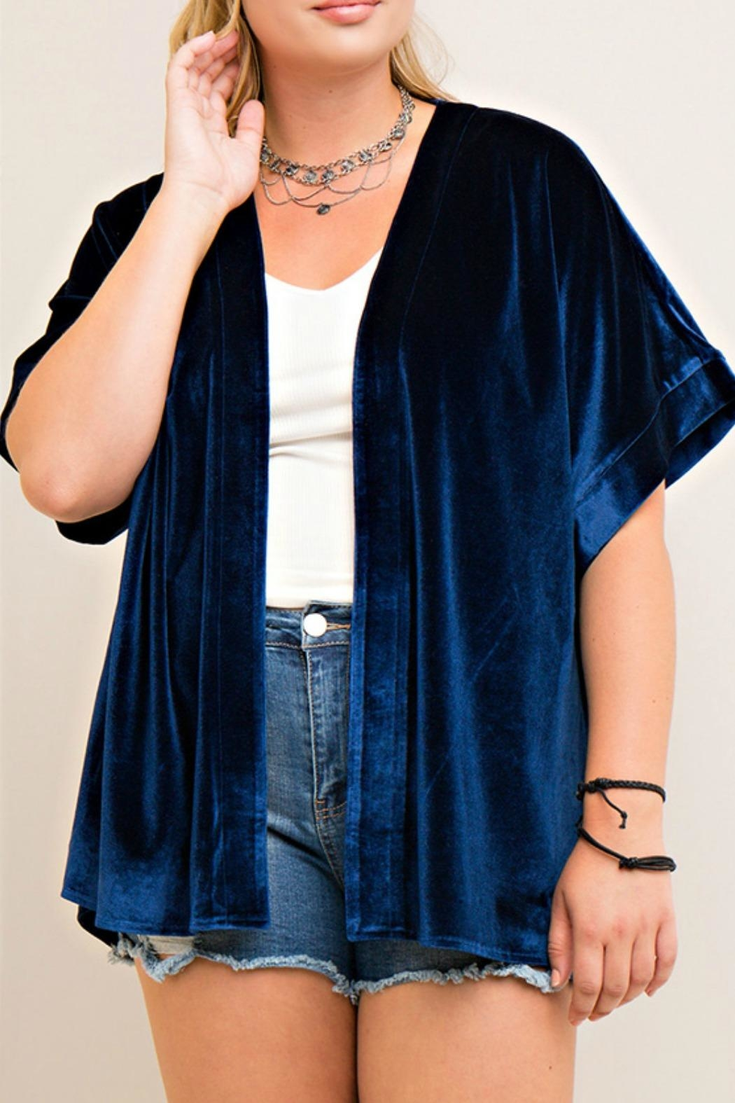 Entro Blue Embroidered Cardigan - Main Image