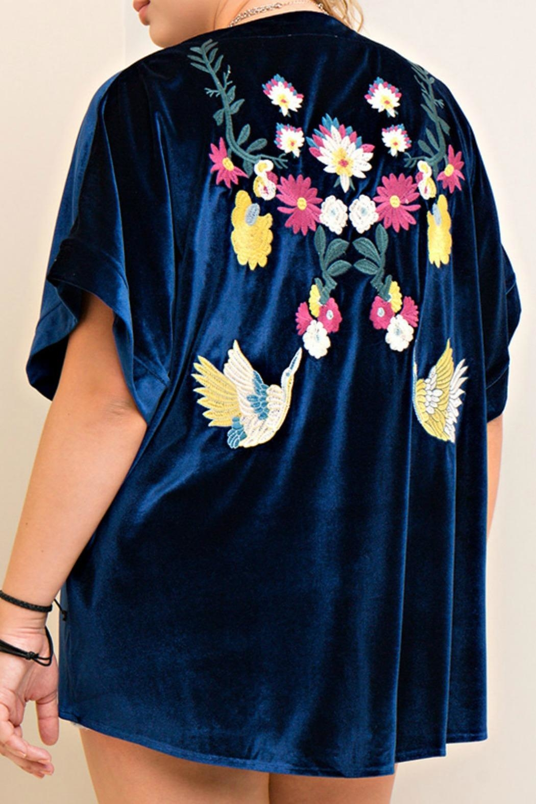 Entro Blue Embroidered Cardigan - Front Full Image