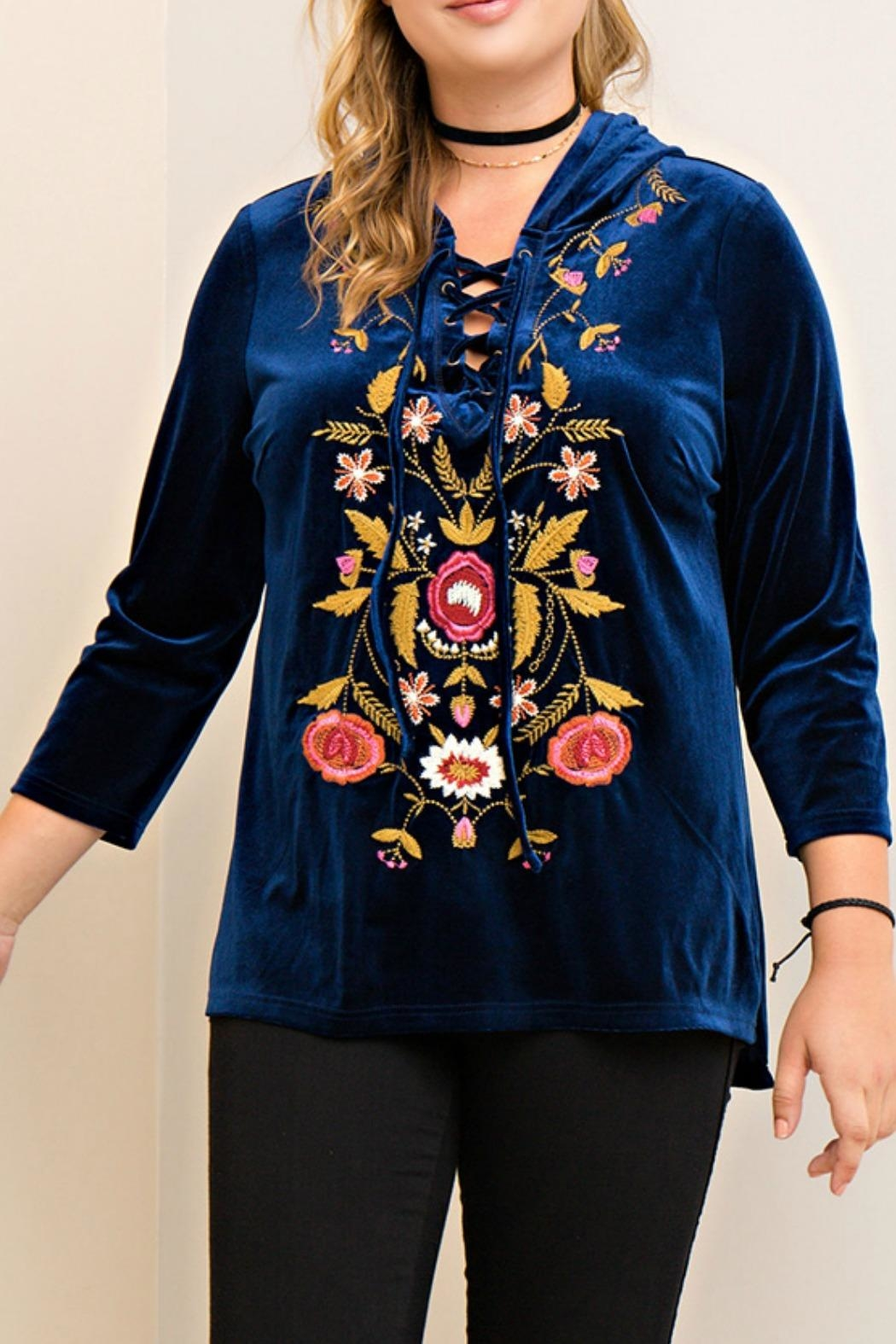 Entro Blue Embroidered Hoodie - Main Image
