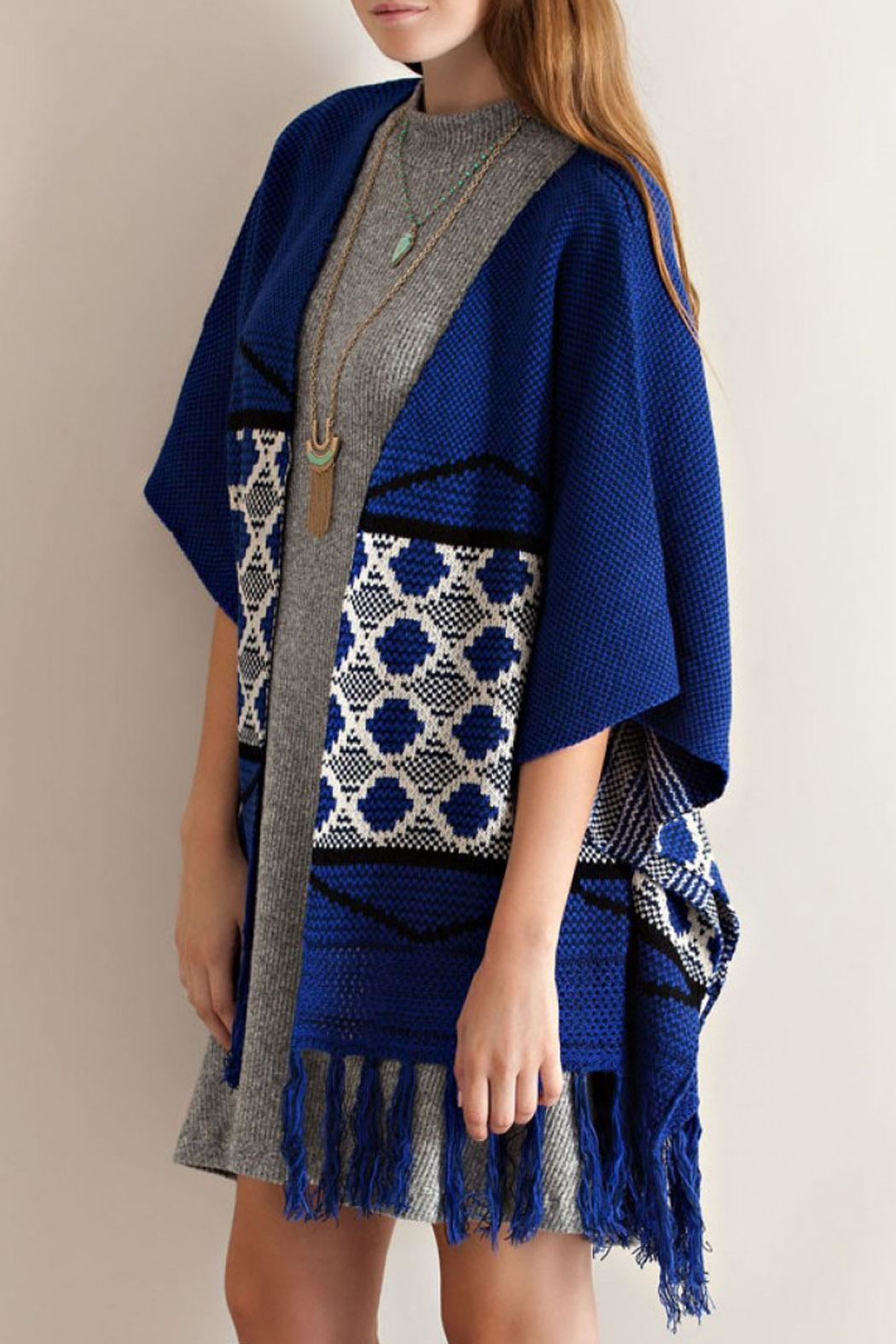 Entro Blue Kimono Sweater - Side Cropped Image