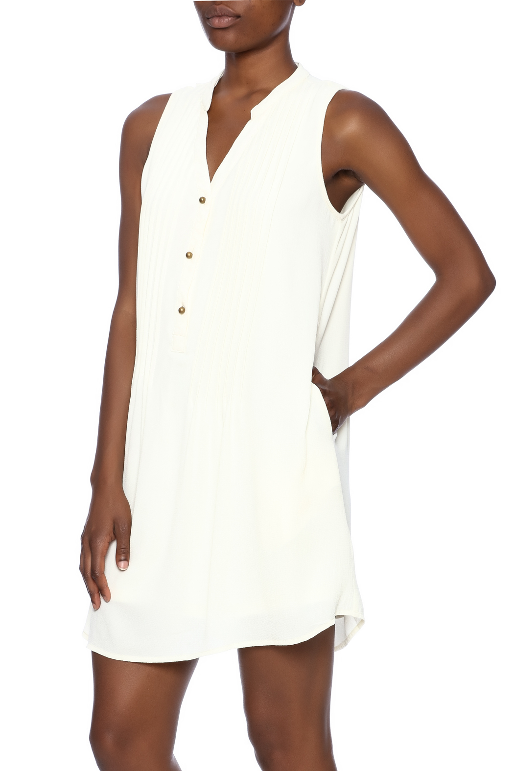 Entro Button Down Dress - Front Cropped Image