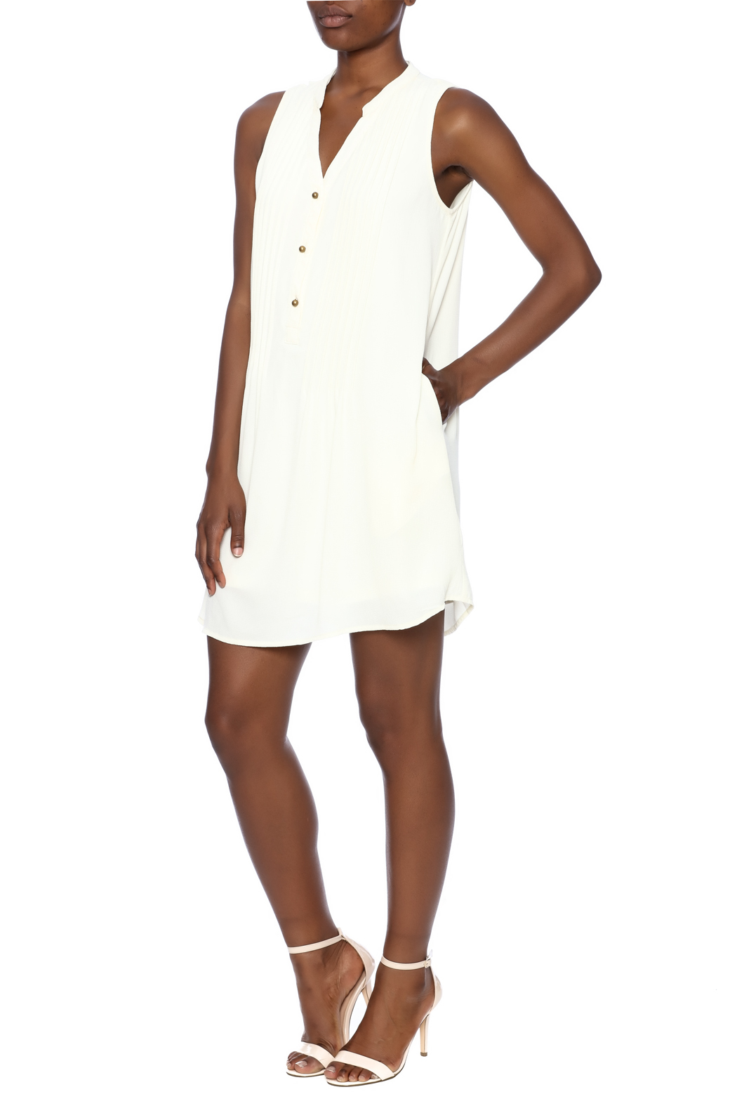Entro Button Down Dress - Front Full Image