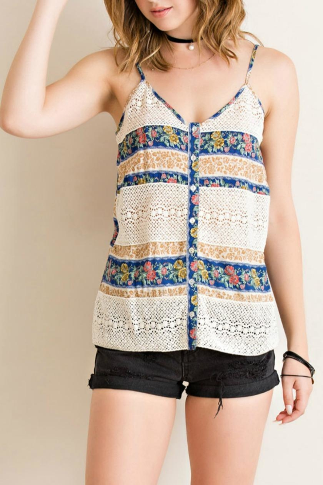 Entro Button-Down Tank Top - Front Cropped Image