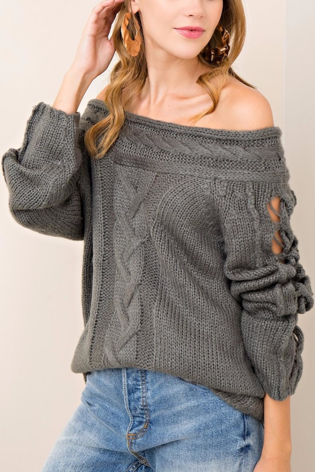 Entro Cable Knit Sweater - Side Cropped Image