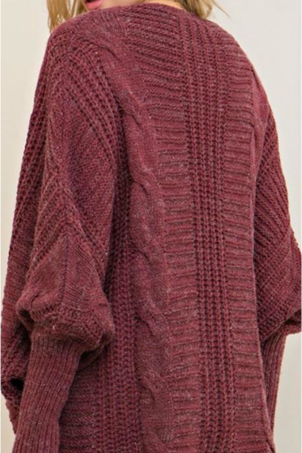 Entro Cable Sweater Cardi - Side Cropped Image
