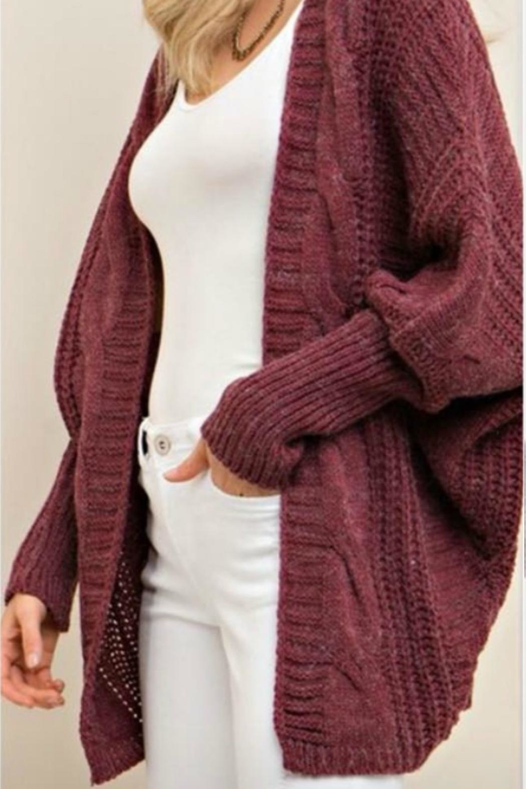 Entro Cable Sweater Cardi - Front Cropped Image