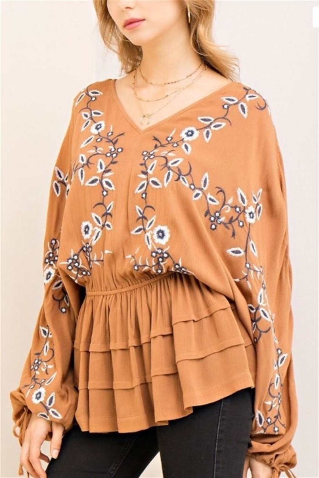 Entro Camel Embroidery Top - Front Cropped Image