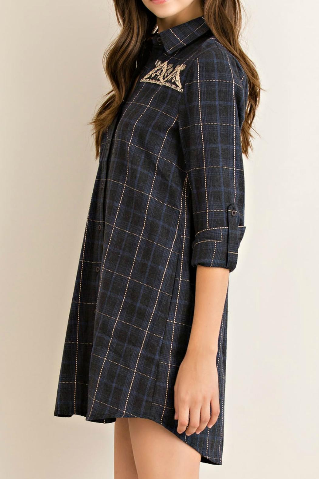 Entro Charcoal Plaid Tunic - Back Cropped Image