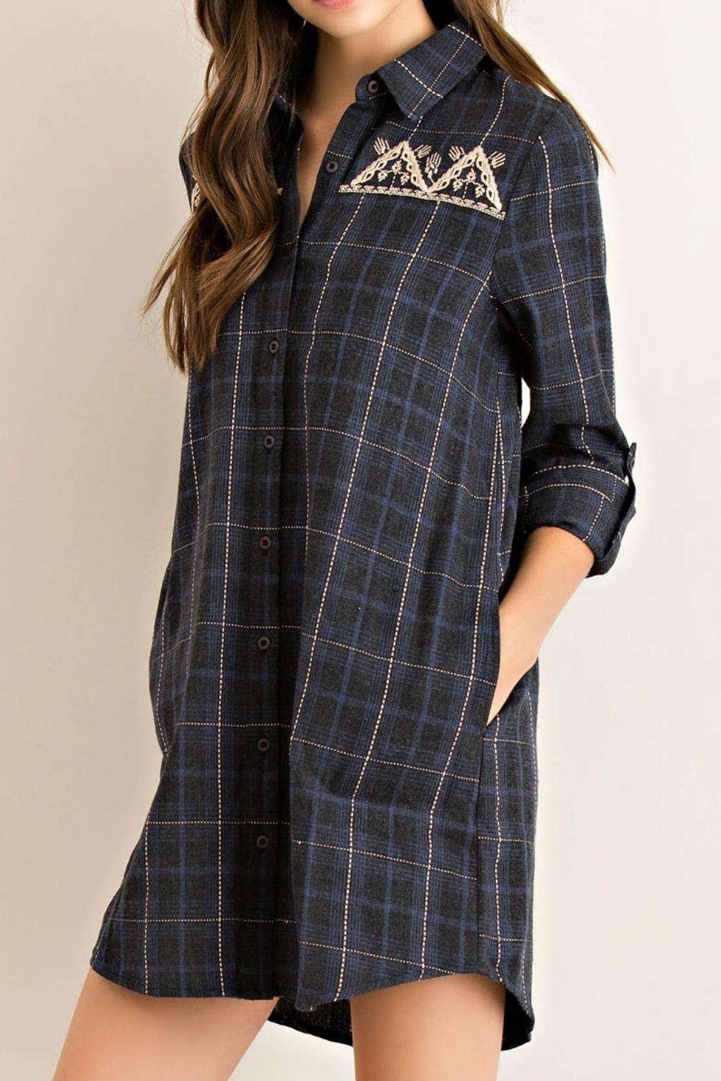 Entro Charcoal Plaid Tunic - Front Full Image
