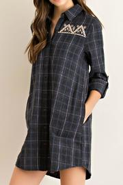 Entro Charcoal Plaid Tunic - Front full body